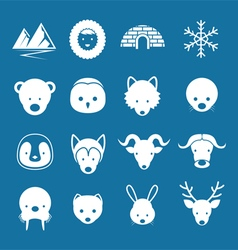 arctic animals flat icons mono color set vector image