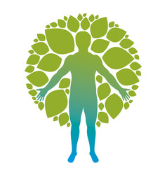 Athletic man created using organic green tree vector