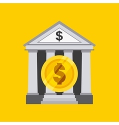 Bank and coin icon vector