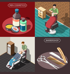 barbershop isometric design concept vector image