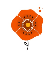 Beautiful red poppy in folk style vector image