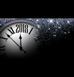 Black 2018 new year clock background vector
