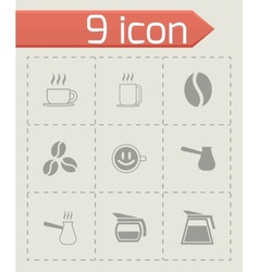Black coffee icons set vector