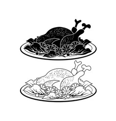 black turkey meat dish outline and silhouette vector image