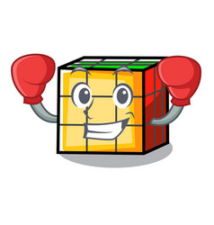 Boxing rubik cube character cartoon vector