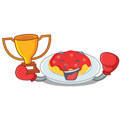 boxing winner spaghetti character cartoon style vector image