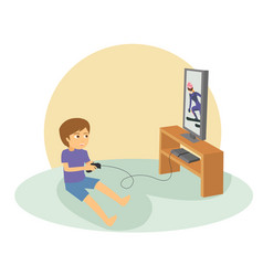 boy playing games on his big flat television vector image