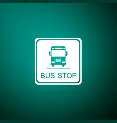 bus stop sign isolated on green background vector image
