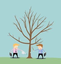 businessman cutting tree of competitor vector image