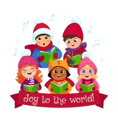 Caroling kids composition vector