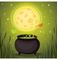 Cauldron with magical potion in a dark fores vector image