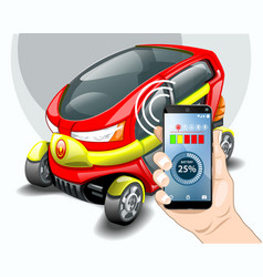 charging electric car phone control vector image