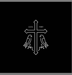 Christian cross with dove pigeon line outline logo vector