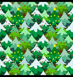 Christmas theme pine tree forest seamless pattern vector image