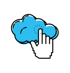 cloud computing with hand touching vector image