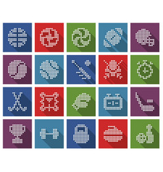 collection square dotted icons sport vector image