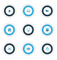 computer icons colored set with server start vector image