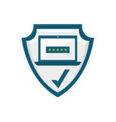 Computer password emblem crest vector