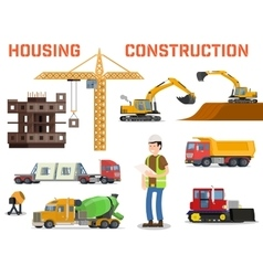 Construction machines builders and house building vector
