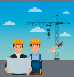 Construction workers engineer foreman blueprint vector