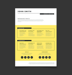 Cv form template professional resume stylish vector
