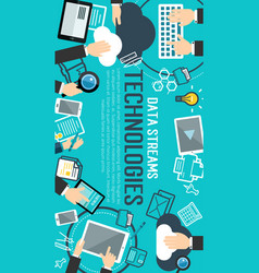 data management banner of internet technology vector image