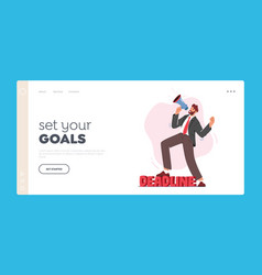 Deadline landing page template anxious vector