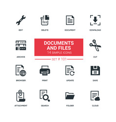 documents and files - flat design style icons set vector image