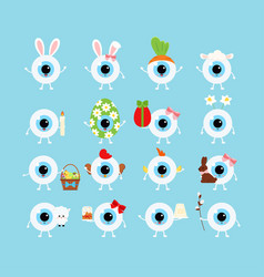 Easter cute eye ball icon set vector