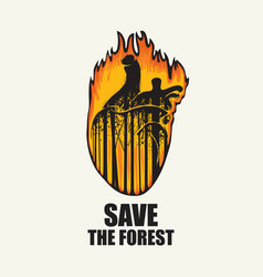 Eco banner on theme forest fires save vector