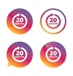 Every 20 minutes sign icon Full rotation arrow vector image