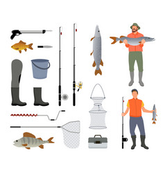 Fishing tools isolated on white background banner vector