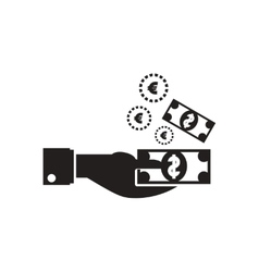 Flat icon in black and white dollar hand vector