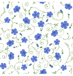 flax floral seamless pattern vector image