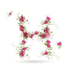 Floral letter H for your design vector image