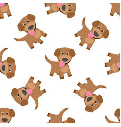 funny puppy dog cartoon seamless pattern vector image