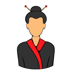 Geisha icon cartoon vector