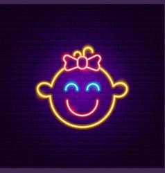 girl face neon sign vector image
