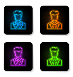 glowing neon user man in business suit icon vector image