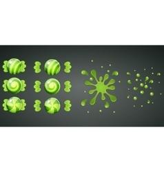 Green kiwi candy with splash animation vector image