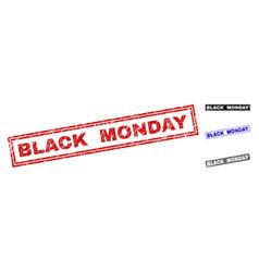Grunge black monday textured rectangle stamp seals vector