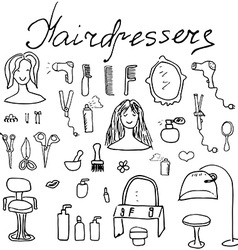 Hairdresser equipment doodles set Hand-drawn vector