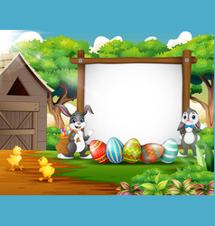 happy rabbit and chicken with easter background vector image
