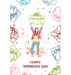happy women day poster with hand drawn girl vector image