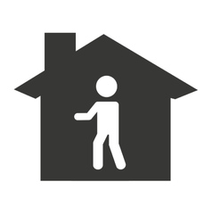 House silhouette with person icon vector