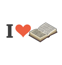 i love reading heart and book emblem for lovers vector image