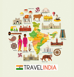 India travel map with sightseeing places vector