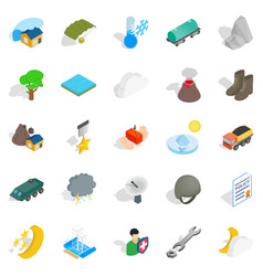 inflammable icons set isometric style vector image