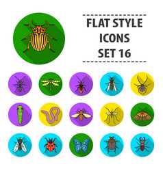 insects set icons in flat style big collection of vector image