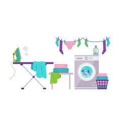 Laundry room with washing machine ironing board vector